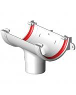 Freeflow 112mm Half Round Gutter Running Outlet - White