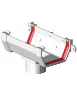 Freeflow 114mm Square Gutter Running Outlet - White