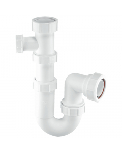 "McAlpine 75mm Water Seal Tubular Swivel Basin Trap - 1 ½"" - Adjustable Inlet (19-23mm Pipe Connection)"