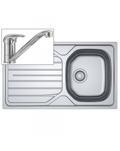 Basix Compact Inset Sink & Tap Pack - 1 Bowl - Stainless Steel