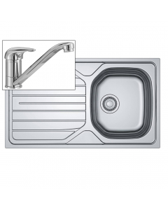 Basix Inset Sink & Tap Pack - 1 Bowl - Stainless Steel