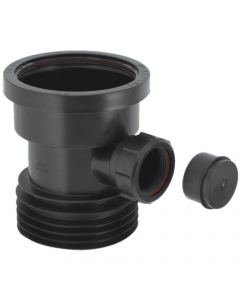"McAlpine 4"" Drain Connector with 1 ½"" Universal Pipe Boss - Black"