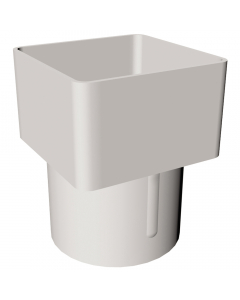 Freeflow 65mm Square To 68mm Round Down Pipe Adaptor - White
