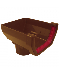 Freeflow 114mm Square Gutter Stopend Outlet - Caramel