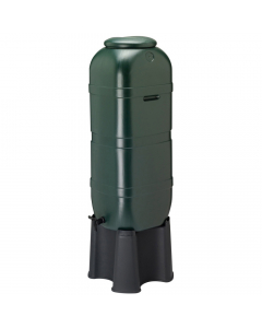 Ward Plastic Space Saving Water Butt with Stand - 100 Litre - Green