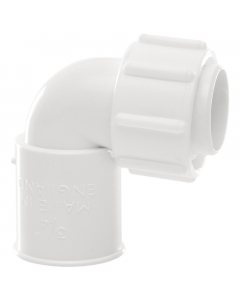 Polypipe 21.5mm Overflow Solvent Weld Bent Adaptor - White