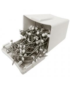 Plastops Plastic Headed Pins - 30mm - White (200 Pack)