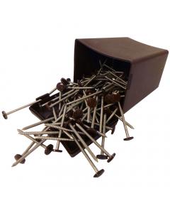 Plastops Plastic Headed Pins - 30mm - Dark Brown (200 Pack)