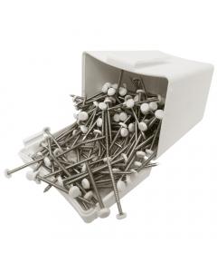 Plastops Plastic Headed Pins - 40mm - White (200 Pack)