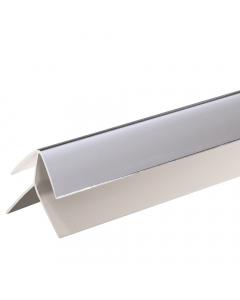 Proplas PVC 8mm External Corner Trim - 2.7 Metre - Silver