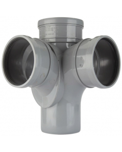 Polypipe 110mm Push Fit Soil and Vent Triple Socket 92.5 Degree Corner Branch - Grey