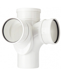 Polypipe 110mm Push Fit Soil and Vent Triple Socket 92.5 Degree Corner Branch - White