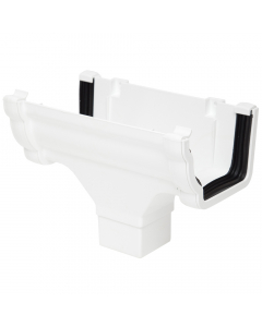 Polypipe 117mm Sovereign High Capacity Gutter Running Outlet - White