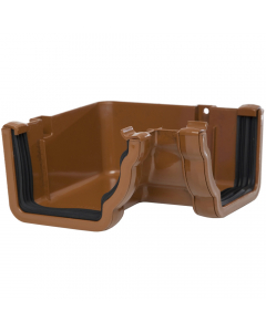 Polypipe 117mm Sovereign High Capacity Gutter 90 Degree Internal Angle - Oak Brown
