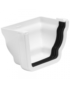Polypipe 117mm Sovereign High Capacity Gutter Right Hand Profiled External Stopend - White