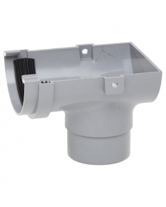 Polypipe 75mm Mini Half Round Gutter Stopend Outlet - Grey