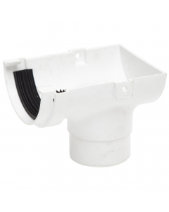 Polypipe 75mm Mini Half Round Gutter Stopend Outlet - White