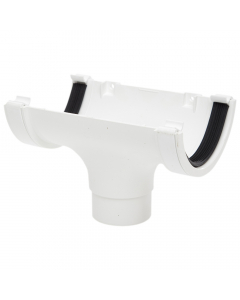 Polypipe 112mm Half Round Gutter Running Outlet - White