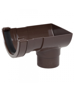 Polypipe 112mm Half Round Gutter Stopend Outlet - Brown