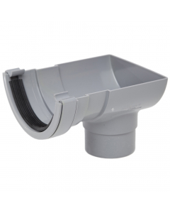 Polypipe 112mm Half Round Gutter Stopend Outlet - Grey