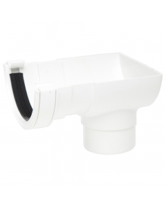 Polypipe 112mm Half Round Gutter Stopend Outlet - White