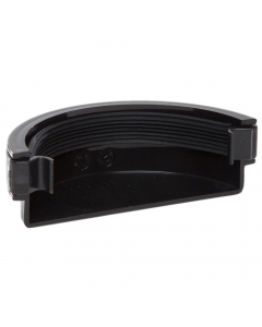 Polypipe 112mm Half Round Gutter External Stopend - Black