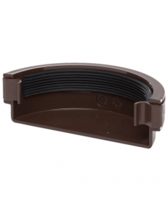Polypipe 112mm Half Round Gutter External Stopend - Brown