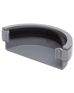 Polypipe 112mm Half Round Gutter External Stopend - Grey