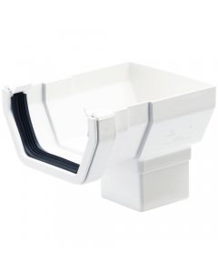 Polypipe 112mm Square Gutter Stopend Outlet - White