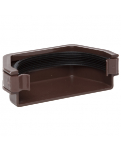 Polypipe 112mm Square Gutter External Stopend - Brown