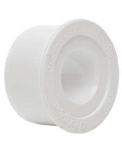 Polypipe 40mm Solvent Weld Waste to 21.5mm Solvent Weld Overflow Reducer - White