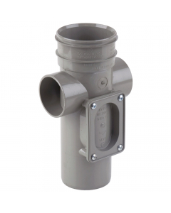 Polypipe 82mm Push Fit Soil and Vent Single Socket Access Pipe - Grey
