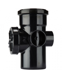 Polypipe 110mm Push Fit Soil and Vent Single Socket Access Pipe - Black