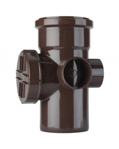 Polypipe 110mm Push Fit Soil and Vent Single Socket Access Pipe - Brown