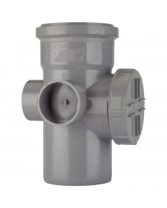 Polypipe 110mm Push Fit Soil and Vent Single Socket Access Pipe - Grey