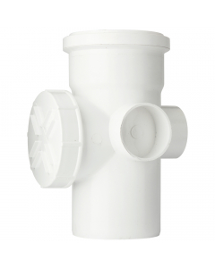 Polypipe 110mm Push Fit Soil and Vent Single Socket Access Pipe - White