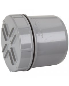 Polypipe 82mm Push Fit Soil and Vent Spigot Access Cap - Grey