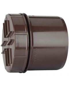 Polypipe 110mm Push Fit Soil and Vent Spigot Access Cap - Brown