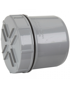 Polypipe 110mm Push Fit Soil and Vent Spigot Access Cap - Grey