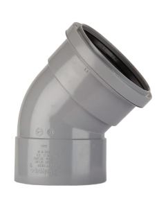 Polypipe 82mm Push Fit Soil and Vent Double Socket 135 Degree Offset Bend - Grey