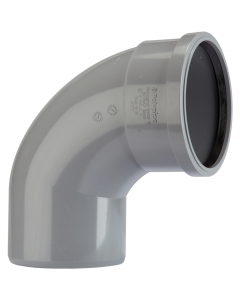 Polypipe 82mm Push Fit Soil and Vent Single Socket 92.5 Degree Bend - Grey