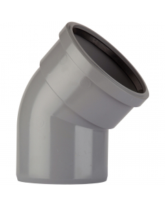 Polypipe 82mm Push Fit Soil and Vent Single Socket 135 Degree Bend - Grey