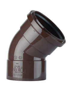 Polypipe 110mm Push Fit Soil and Vent Double Socket 135 Degree Offset Bend - Brown