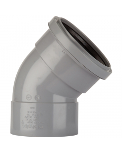 Polypipe 110mm Push Fit Soil and Vent Double Socket 135 Degree Offset Bend - Grey