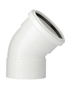 Polypipe 110mm Push Fit Soil and Vent Double Socket 135 Degree Offset Bend - White