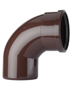 Polypipe 110mm Push Fit Soil and Vent Single Socket 92.5 Degree Offset Bend - Brown
