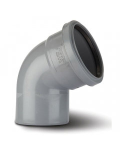 Polypipe 110mm Push Fit Soil and Vent Single Socket 112.5 Degree Bend - Grey