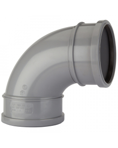Polypipe 110mm Push Fit Soil and Vent Double Socket 92.5 Degree Bend - Grey