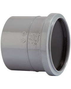 Polypipe 82mm Push Fit Soil and Vent Single Socket Coupler - Grey