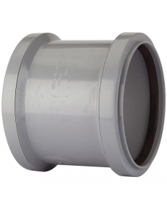 Polypipe 82mm Push Fit Soil and Vent Double Socket Coupler - Grey